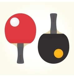 Ping-pong rackets and balls isolated vector