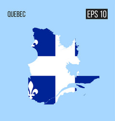 Quebec map border with flag eps10 vector
