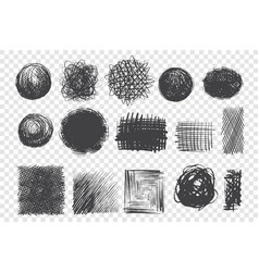 round and square shape scribbles hand drawn doodle vector image