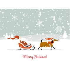 santa claus with dog symbol of 2018 christmas vector image