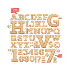 sculpted alphabet stone carved letters numbers vector image