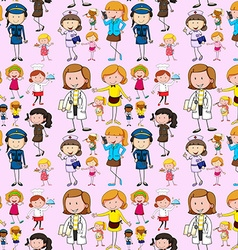 Seamless background with people doing different vector image