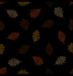 seamless pattern of autumn leaves of red oak vector image
