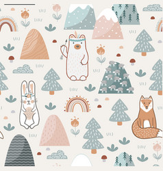 seamless pattern with cute forest animals flowers vector image