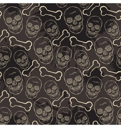 Seamless skull pattern with bone vector image