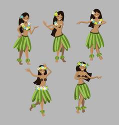 Set girl in dance beautiful graceful hawaiian vector