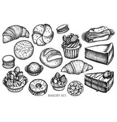set hand drawn black and white macaron vector image