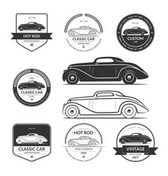 set hot rod car labels emblems logos vector image