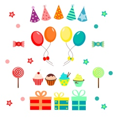 Set of birthday party colorful elements vector