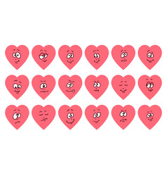set of flat heart shape emoticons vector image
