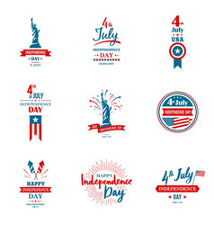 set of greeting for united states independence vector image