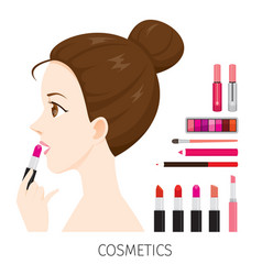 Side view woman with hair bun make-up lipsticks vector