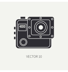 Silhouette flat icon with digital action vector
