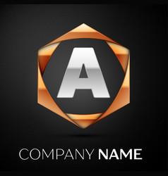 silver letter a logo symbol in golden hexagonal vector image