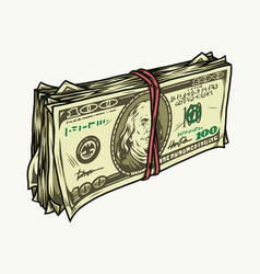 Stack one hundred us dollars vector