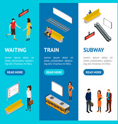 subway station banner vecrtical set isometric view vector image