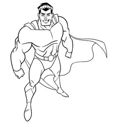 Superhero from above line art vector