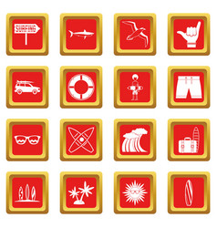 surfing icons set red vector image