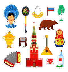 Traditional russian attributes vector