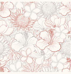 Tropical flowers seamless pattern with white hand vector