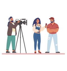 Tv journalist or news reporter street interview vector