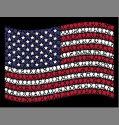 Waving usa flag stylization of map pointer vector