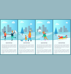 Wintertime people and text vector