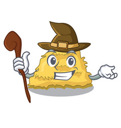 Witch hay bale mascot cartoon vector