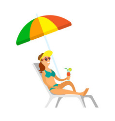 Woman relaxing under umbrella cocktail vacation vector