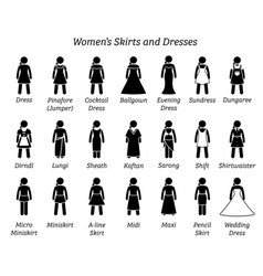 women skirts and dresses stick figures depict a vector image