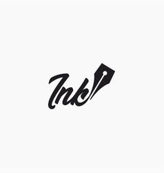 Wordmark logo pen ink logo template vector