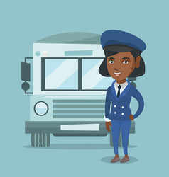 Young african-american female school bus driver vector