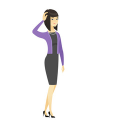Young asian business woman scratching her head vector