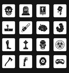 zombie icons set squares vector image