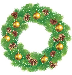 Christmas wreath of pine branches with cones vector