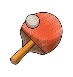drawing racket ball ping pong game vector image
