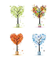 Four seasons - spring summer autumn winter trees vector image vector image