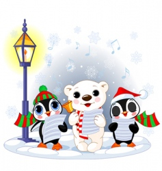 polar bear and two penguins vector image