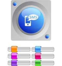 SMS color round button vector image vector image