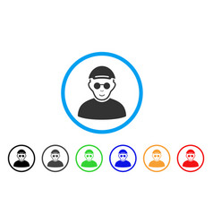 blind man rounded icon vector image