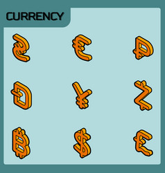currency color outline isometric icons vector image vector image