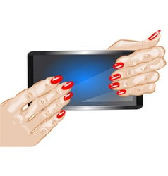 hands holding phone vector image vector image