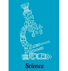 Science conceptual microscope shape emblem vector image