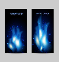 set of vertical banners with abstract blue fire vector image