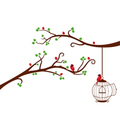 Two Tree Branches with bird cage and love birds vector image vector image