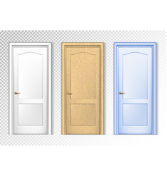 collection doors isolated on white white wooden vector image
