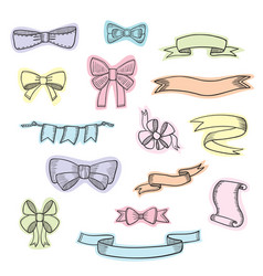 doodle style banner sketch ribbons and bows on vector image