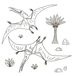 hand drawn jurassic vector image vector image