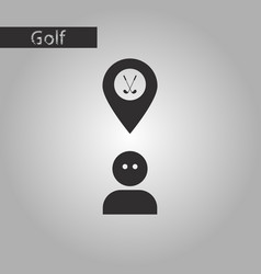 black and white style icon golfer logo vector image vector image