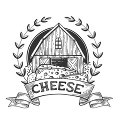 cheese maker vintage emblem engraving vector image